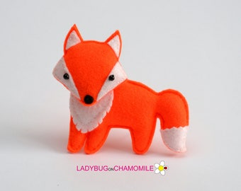 Felt Fox Stuffed Felt Fox Magnet Or Ornament Fox Toy Forest Animals