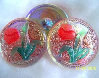 Czech  Glass  Buttons 3 pcs   Gorgeous   31mm  TULIP   IVA C 145