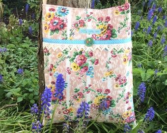 Vintage barkcloth fabric mini messenger bag - plaster pink floral