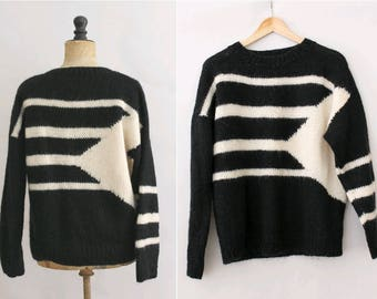 1980 Knit pure  wool Oversized  Sweater black & white /80s wool sweater