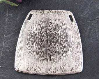 Silver Plated Trapezium Focal Pendant, Geometric Pendant, 1 piece // SP-289