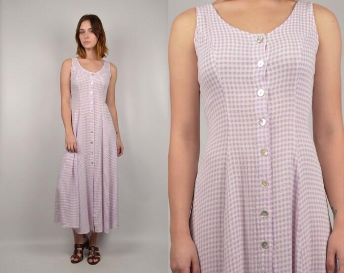 90's Pastel Gingham Midi Dress