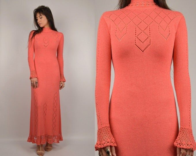 70's Coral Knit Maxi Dress vintage long sleeve
