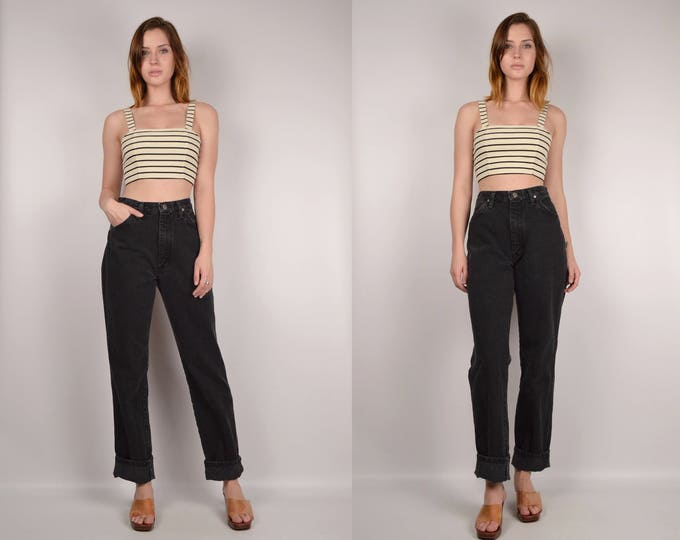 Black Denim High Waist Straight Leg Jeans