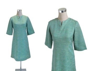 60's Day Dress - 1960's Vintage Dress - Sea Green Dress - Bell Sleeves - Metal Zipper Dress - Mother Of The Bride Dress