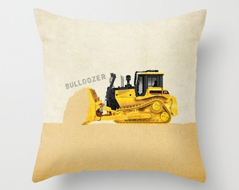 Bulldozer Construction Throw Pillow Cover - Personalized with Name for Nursery or Big Kid Room Decor Dump Truck Excavator Backhoe