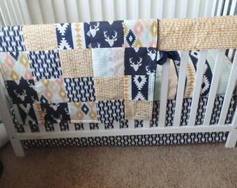 Bumperless Crib Set  Buck/Tribal