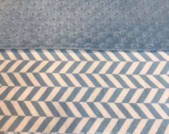 READY TO SHIP - Baby Blue Herringbone - Personalized Name Blanket - Baby shower - Baby gift - newborn