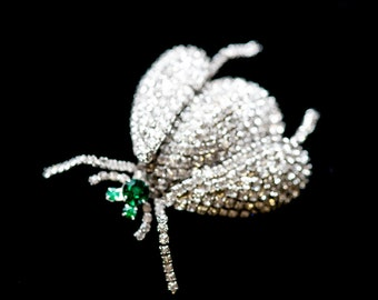 Vendome Rhinestone Crystal Pave Insect Bug Signed HUGE