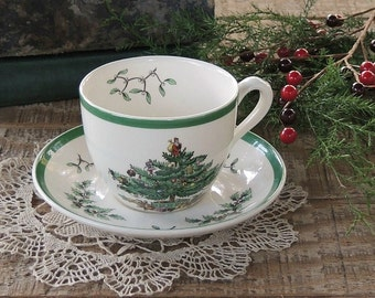 spode christmas tree tea cup and saucer set english bone china tea set for holidays