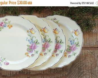 On Sale W S George Yellow Floral Bread and Butter Plates Set of 4 Scalloped Dessert Plates Lido Canarytone Wall Decor Tea Party Wedding