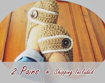 2 Pairs- Button  Crochet Slippers / Woman Sizes / Gifts /Woman Sizes