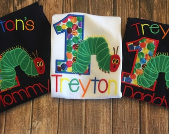 Hungry little caterpillar birthday shirt with matching parent shirts
