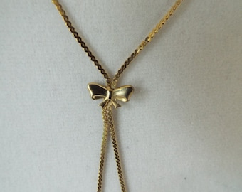 "gold filled bow pendant  necklace 18"" chain"