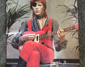 RARE, Vintage, ORIGINAL 1974 David Bowie, The RIse And Fall Of Ziggy Stardust, Fold Out POSTER 16.5 X 23, From Pop Scene Magazine