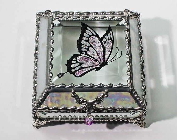 Butterfly 4x4 Etched Hand Painted Glass Jewelry Box Hand crafted, Gift Box
