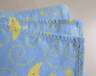 Moon and stars, Large receiving blanket, swaddling blanket, flannel blanket, good night moon,  for a baby boy, reusable gift wrap