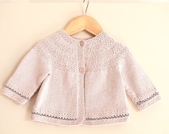 Baby round yoked sweater with moss stitch trim - P033