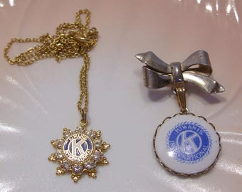 Kiwanis International Group of Two Jewelry Items Pendant Necklace and Pendant Bow Brooch
