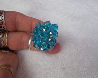 Blingy Beaded Bobbled Ring-Adjustable-R579