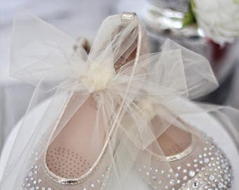 Girls Shoes - GOLD Mesh With Rhinestone ballet flats with TULLE ankle strap.  For weddings, princess, fairy, flower girls, frozen, costume