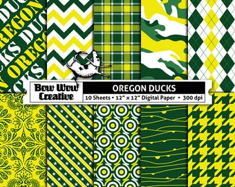 Univesity of Oregon Ducks, green, white, digital, paper, scrapbook paper, school colors, team colors, printable, patterns, college, sports