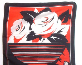 Vintage Red and Black Floral Square Scarf -  Bold Flower Scarves - Womens  Accessories 1980s