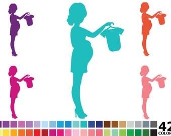 70% OFF SALE Rainbow Silhouette Pregnant Woman Clipart - Digital Vector Colorful Pregnancy Clip Art