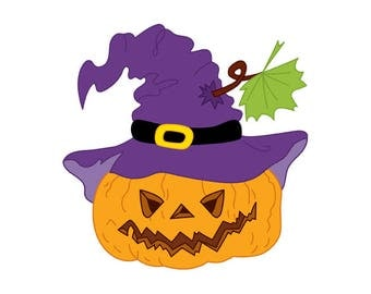 Halloween Pumpkin Clipart - Digital Vector Pumpkin, Mystery, Scary, Hat, Pumpkin Clip Art for Personal and Commercial Use