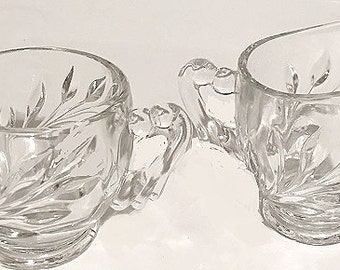 Vintage Cut Glass Sugar Bowl and Creamer, tableware glassware pitcher, cottage chic style housewares