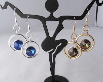 Dangling Crystal Rivolis in Open Circles on Fishhook Earwires