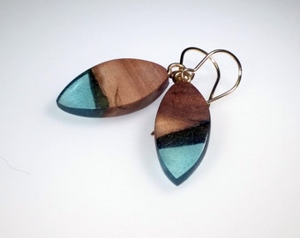 Wood and Resin, Dangle Drop Earrings,  Sea Glass Blue Resin, 14 Karat Gold Jewelry, Tear Drop, Lightweight Earrings, Aquamarine Raw