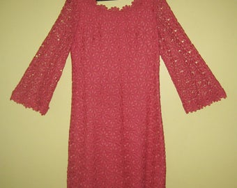 SUZY PERETTE DRESS Flower Cutouts Lace Floral Crochet Boho 1960s Cocktail Party Bell Sleeves Rose Pink Red Mod Chic Size Small or Medium S/M