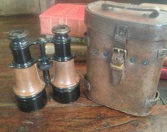 1918 WWI Binoculars Leather Travel Case Antique French English