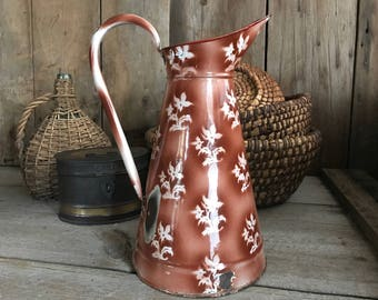 Large Chippy French Enamel Pitcher Jug, Rustic Floral Vase, French Farmhouse Decor