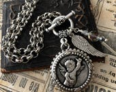 Angel Cherub Button Necklace Angel Wings