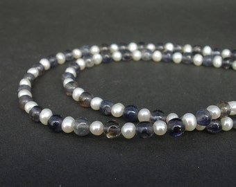 Natural Gemstone Iolite and White Pearl Necklace 5mm, 925 Sterling Silver, Iolite Necklace, White Pearl Necklace