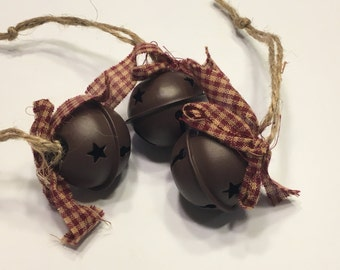 set of 3 rustic country decorated jingle bell, 30 mm (A3)