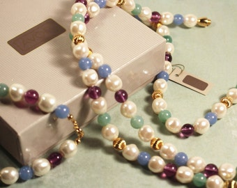 Avon Impressionistic Pastels Necklace and Bracelet - Vintage 1986