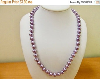 On Sale Retro Hand Knotted Purple Faux Pearl Necklace Item K # 1477