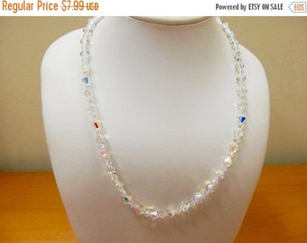 On Sale Vintage Aurora Borealis Crystal Necklace Item K # 314