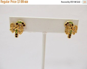 On Sale QUACKER FACTORY Retro Red, Green and Clear Rhinestone Candy Cane Earrings Item K # 1391