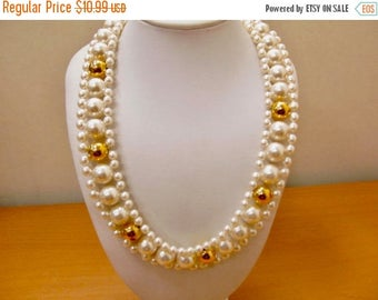 On Sale NAPIER Woven Gold Tone and Faux Pearl Collar Necklace Item K # 1497