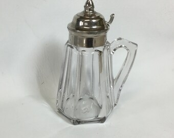 Antique Paneled Glass White Metal Lid Syrup Leaded Glass Creamer Pitcher Jug EAPG Heavy Glass