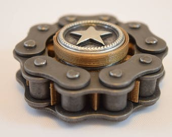 MINI BadBiker Fidget Spinner Hand Spinner - Small Bad Biker Fidget Toy - Motorcycle Chain and Sprocket - Biker - Gear - Cog - EDC