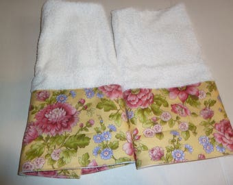 Floral Hand Towels, Peonies and Forget-Me-Nots on Yellow, Decorative Hand Towels (Set of 2)  for Kitchen, Bath or Powder Room