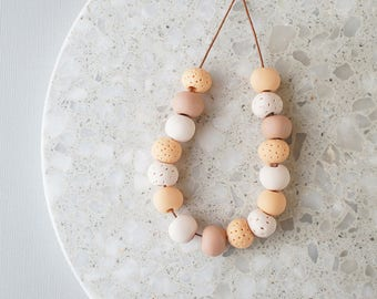 Beaded Necklace in Natural Tones - Handmade Polymer Clay Beads - Limited Edition - Adjustable
