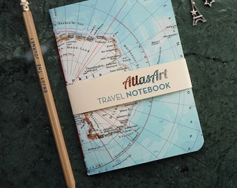 NOTEBOOK SMALL, Southpol, Antarctica, Penguin, 4x5,8inch, 32 pages, plain/ruled, travel journal, diary, atlas, map, vintage, upcycling