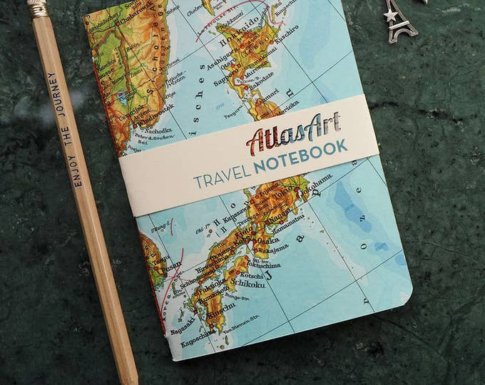 NOTEBOOK SMALL, Japan, Tokyo, Kobe, Kioto, 4x5,8inch, 32 p., plain/ruled, travel journal, diary, atlas, map, vintage, upcycling