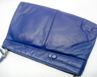 Blue leather clutch and shoulder bag